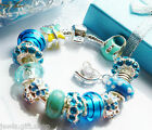 blue charm bracelet with bag butterfly heart pendant pink green purpal for girls