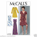 McCall's 7381 Sewing Pattern to MAKE Misses' Surplice Pleated Dresses Opp Tie