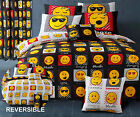 Emoji Expressions Black & White Duvet Set Single Double King Ready Made Curtains