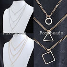 Rare Geometric Bib Round Triangle Rhombus Pendant 3 Layer Chain Necklace 16-19""