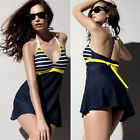 Navy Blue Striped One-Piece Swimsuit Swimdress Swimwear Beachwear New Reliable