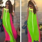 New Sexy Women O-Neck Chiffon Sleeveless Loose Long Casual Maxi Beach Dress N4U8