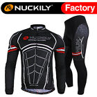 Nuckily Men's Bike Winter Fleece Thermal Cycling Jersey+Padded Tights Pants Set