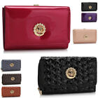 WOMEN'S CROWN DIAMANTE CRYSTAL PATENTED PURSES WALLET BAGS CELEB STYLE PURSE