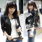 Womens Faux Leather PU Motorcycle Jacket Coat Blazer Top Outerwear Fashion New