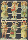 ANGELS CHRISTMAS WINTER GERMANY SCRAP SNOW HOLLY BASKET ORNAMENT CARDS EMBOSSED