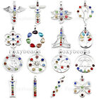 Rare 7 Chakra Reiki Crystal Glass Beads Healing Point Pendant fit Necklace DIY