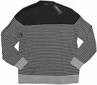 Claiborne Mens Gray Stripe Crew Sweater Pullover Long Sleeve New