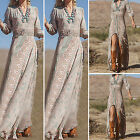 Sexy Fashion Lady Summer V-neck 3/4 Sleeve Split Party Long Dress Beach Sundress