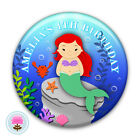 Personalised Little MERMAID Girl's 2nd 3rd 4th 5th Birthday Party Badge (58mm)