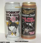 SAN JOSE SHARK+PITTSBURGH PENGUIN NHL ICE HOCKEY VINTAGE MAN CAVE CUP BEER CANS
