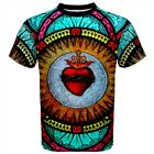 Sacred Heart T-Shirt Stained Glass All Over print Christian Jesus symbol