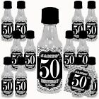 Birthday Men BW Mini Liquor Bottle Label Stickers + Bottle option Favors (12pcs)