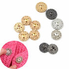 5 Pcs Hollow Flower Shape Metal Snap Clasp Bottons Fastener DIY Sewing Clothing