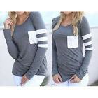 1 Pc Women Ladies Casual Striped Top Tee Pull-over Long Sleeved T-Shirt