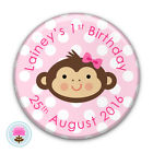 Personalised Monkey Girl's Happy 1st 2nd 3rd Birthday Party Badge (58mm)