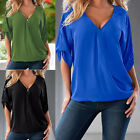 Women Ladies V-neck Over-sized T-Shirt 3/4 Sleeved Solid Color Tank Top Tee