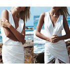 Fashion Women Ladies Asymmetric Fringe Deep V Neck Sleeveless Mini Dress