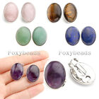 Pair Women Oval Natural Gems Quartz Bead Clip on Earring Ear Stud No Piercing FB