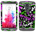 Retro Peace Groovy Pink Green Gray Hybrid Rugged Case Cover for LG Optimus G3