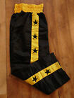 FORCE BLACK & YELLOW STRIPE with BLK STARS MARTIAL ARTS KICKBOXING TROUSERS  NEW