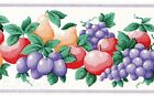 Kitchen Fruit Ivory Purple Grapes Pears Textured Vtg Vinyl Wall Wallpaper Border