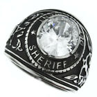 Sheriff Department Clear Stone Silver Stainless Steel Mens Ring