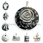 1X Irregular Natural Abalone MOP Shell Round Flower Square Pendant Women Jewelry