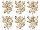 """6 pcs of 3.8"""" Tall Royal Lion Shape with Engraved Maple Hardwood Cutout Sanded"""