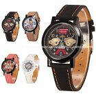 Fashion Candy Bear Dial Leather Analog Quartz Boys Army Mens Sport Wrist Watch