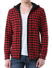 Men Stylish Contrast Check Pattern Button Decor Hooded Shirt