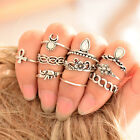 Punk Vintage Knuckle Rings Tribal Ethnic Hippie Stone Joint Ring Set for Women
