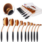 Deluxe 10tlg Foundation Oval Pinsel Puderpinsel Kosmetik Brush Make Up vergoldet