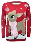 New Womens Christmas Deer Knitted Jumper sizes S/M, M/L L/XL