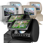 "2 x 9"" HD Car Headrest Screens with Built-In DVD USD SD Player & Free Games"