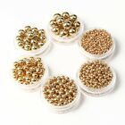 400Pcs gold and silver Metal Round Ball Spacer Beads For Jewelry Making 2.4-8mm