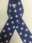 "1.5"" Dark Royal Blue Grosgrain Ribbon with White Stars - 4th of July Made in USA"