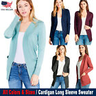 New Women Cardigan Long Sleeve Solid Open Front Sweater Usa S M L Xl 1xl 2xl
