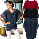 Sexy Womens Lace Batwing Sleeve T-Shirt Ladies Summer Casual Loose Tops Blouse