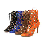 Women's Shoes Synthetic Leather Lace Up High Heel Pumps Zip Sandals AU Size s967