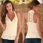 Women 2016 Summer Lace Vest Sleeveless T-Shirt Halter V-neck Blouse Tank Tops
