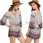 Sexy Women Off-Shoulder 3/4 Sleeve Floral Jumpsuit Romper Trousers Casual Beach