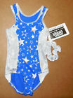 NWT Axis Gymnastic Racer Back Leotard Royal/Silver Stars Foil Trim & Scrunchie