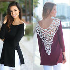Women Casual Loose Blouse Sexy Lace Crochet Hollow-out Back Tops T-Shirt Tee JYL