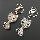 Rose Gold/Silver Tone Clear Crystal Cat Pendant Purse Metal Keychain Key Fob