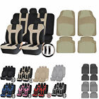UAA HD Carpeted CAR Rubber Mats & Dual-Stitch Racing Polyester Seat Covers Set
