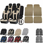UAA Premium CAR Rubber Liner Mats & Dual-Stitch Racing Polyester Seat Covers Set
