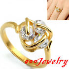 Stainless Steel Golden 3D Stereo CZ Crystals Promise Ring Anniversary Gift