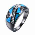Triangle Blue Fire Opal & CZ Wedding Ring 10KT Black Gold Filled Jewelry Sz 6-10