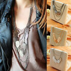 Fashion Women Multi-Layer Leaf Shape Hollow Chain Pendant Necklace Jewelry Gift